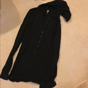 Black Hoodie with Buttons
